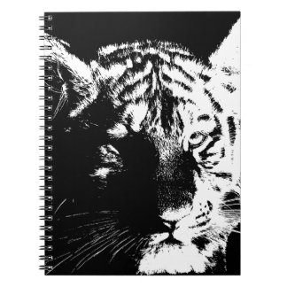 Tigre negro y blanco del arte pop cuaderno