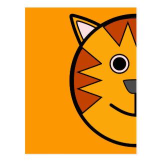 Tigre redondo lindo del dibujo animado postal