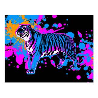Tigre retro de la salpicadura de la pintura de los postal