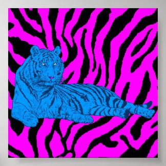 Tigre retro del salón del tigre 80s de Corey Póster