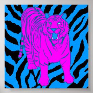 Tigre retro el gruñir del tigre 80s de Corey Poster