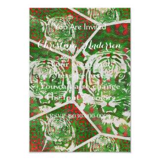 Tigre rojo verde fluorescente invitación 8,9 x 12,7 cm