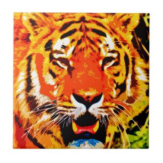 Tigre siberiano anaranjado brillante feroz azulejo cuadrado pequeño