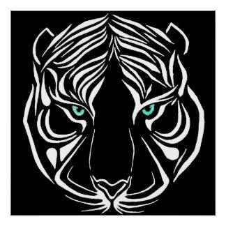 Tigre tribal blanco en el poster oscuro del arte