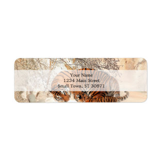 Tigre y cachorro - tigre etiqueta de remite