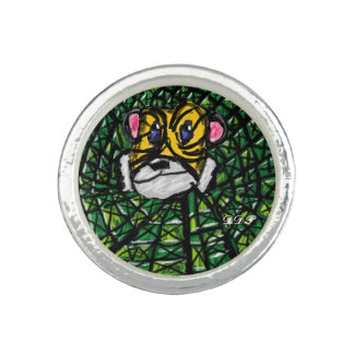 Tigre y esmeraldas anillos con foto