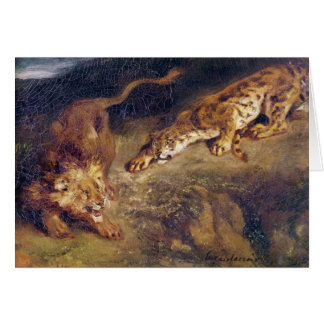 Tigre y león tarjeton