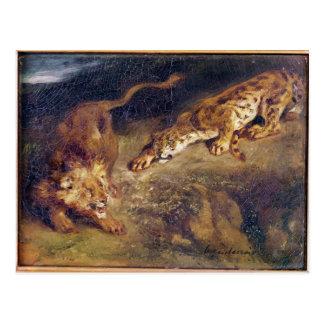 Tigre y león postal