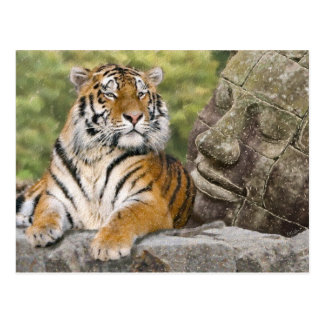 Tigre y templo budista postal