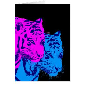 Tigres del gemelo del vintage del tigre 80s de Cor Felicitación