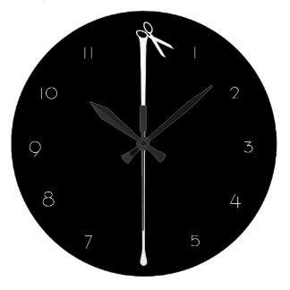 Tijeras negras candentes de MELTPOINT numeradas Reloj Redondo Grande