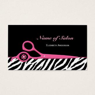 Tijeras rosadas y negras de moda del salón de pelo tarjeta de negocios