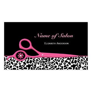 Tijeras rosadas y negras de moda del salón de pelo tarjetas de visita
