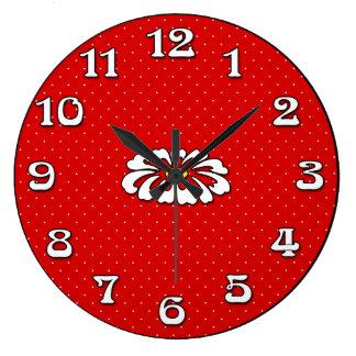 Timekeeper rojo de la margarita del punto reloj redondo grande