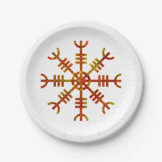 Timón del diseño antiguo de los nórdises del temor plato de papel