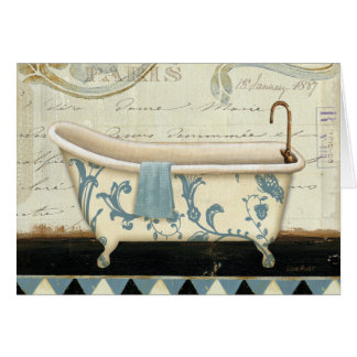 Tina de baño blanca y azul del vintage