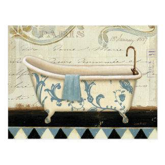 Tina de baño blanca y azul del vintage postal