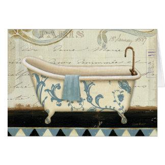 Tina de baño blanca y azul del vintage tarjeta de felicitación