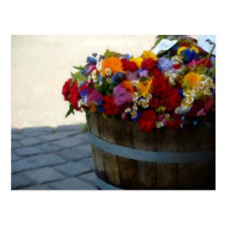Tina de madera de pastel del aceite de las flores postales