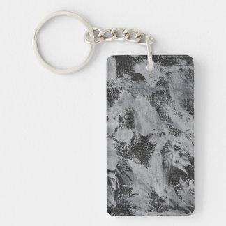 Tinta blanca en el fondo negro #5 llavero rectangular acrílico a doble cara
