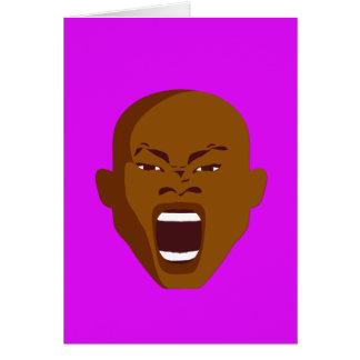 Tinta grosera de griterío púrpura de la cara de la tarjeta de felicitación