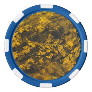 Tinta negra en fondo amarillo juego de fichas de póquer