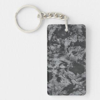 Tinta negra en fondo gris llavero rectangular acrílico a doble cara