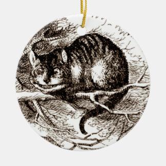Tinte de la sepia del gato de Cheshire Adorno Navideño Redondo De Cerámica