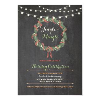 Tintineo de la guirnalda de la fiesta de Navidad Invitación 12,7 X 17,8 Cm