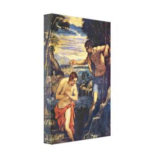Tintoretto - bautismo de Cristo Impresión De Lienzo
