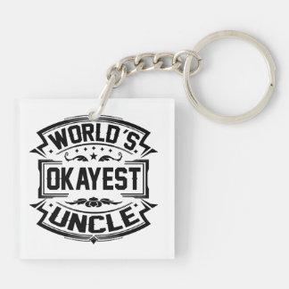 Tío de Okayest del mundo Llavero Cuadrado Acrílico A Doble Cara