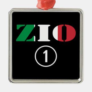 Tíos italianos: Uno de Zio Numero Adorno Cuadrado Plateado
