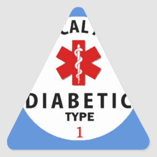 TIPO 1 DE LA DIABETES PEGATINA TRIANGULAR