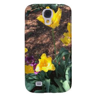 Tipo amarillo flores del tulipán de la primavera funda samsung s4