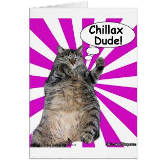 ¡Tipo de Chillax del gatito del hippy! Tarjeta De Felicitación