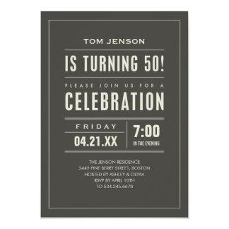 Tipo grande 50.as invitaciones del cumpleaños invitación 12,7 x 17,8 cm