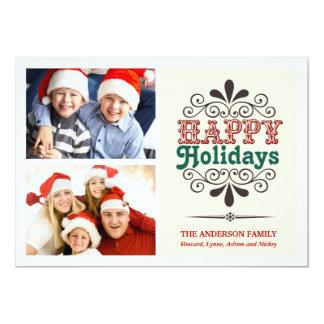 Tipo retro tarjeta plana del collage del día de invitación 12,7 x 17,8 cm