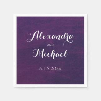 Tipografía blanca en el boda de color morado servilleta de papel