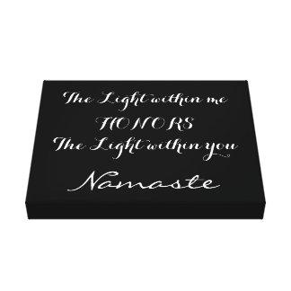 Tipografía blanca negra inspirada de Namaste Impresión En Lienzo