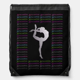 Tipografía colorida de la gimnasia artística mochilas