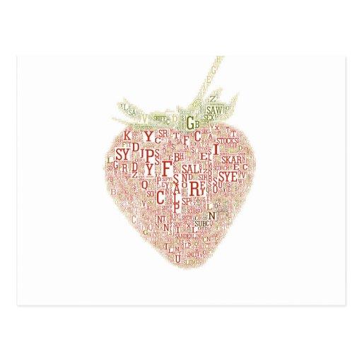 Tipografía de la fresa postales