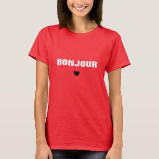 Tipografía del blanco de Bonjour Camiseta
