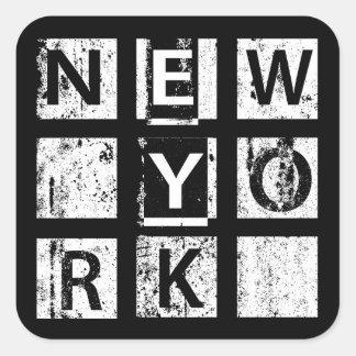 Tipografía del Grunge de Bronx Nueva York el | Pegatina Cuadrada
