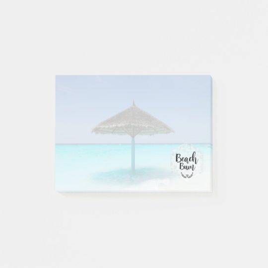 Tipografía del vago de la playa - paraguas en la notas post-it®