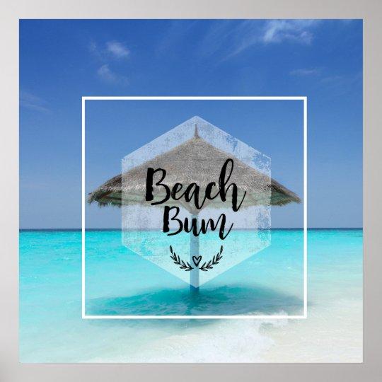 Tipografía del vago de la playa - paraguas en la póster