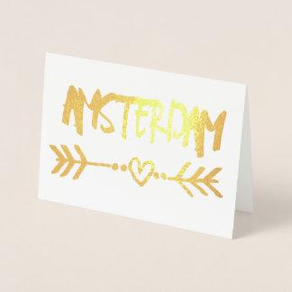 Tipografía elegante del efecto metalizado de oro tarjeta con relieve metalizado