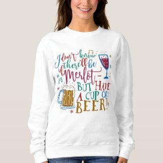 Tipografía fea de la cerveza del vino del Merlot Sudadera