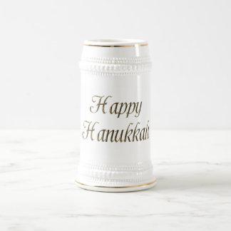 Tipografía feliz Chanukah elegante del oro de Jarra De Cerveza