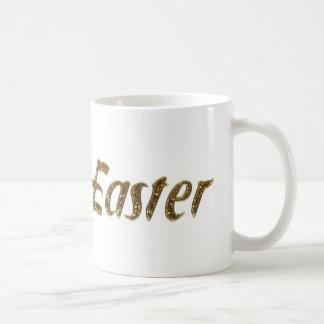 Tipografía feliz del estilo del brillo del oro de taza de café