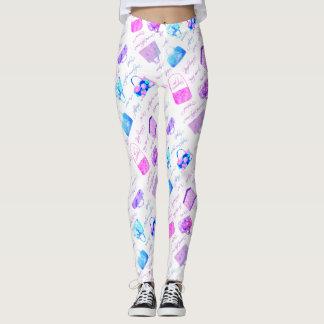 Tipografía floral azul rosada púrpura de los leggings
